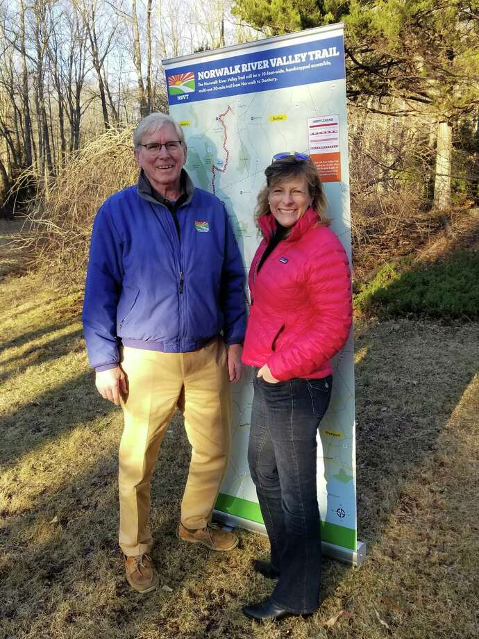Charlie Taney, left, is the new president of the Norwalk River Valley Trail as Pat Sesto steps down from that position. Taney had been executive director of the trail. Photo: Contributed Photo /