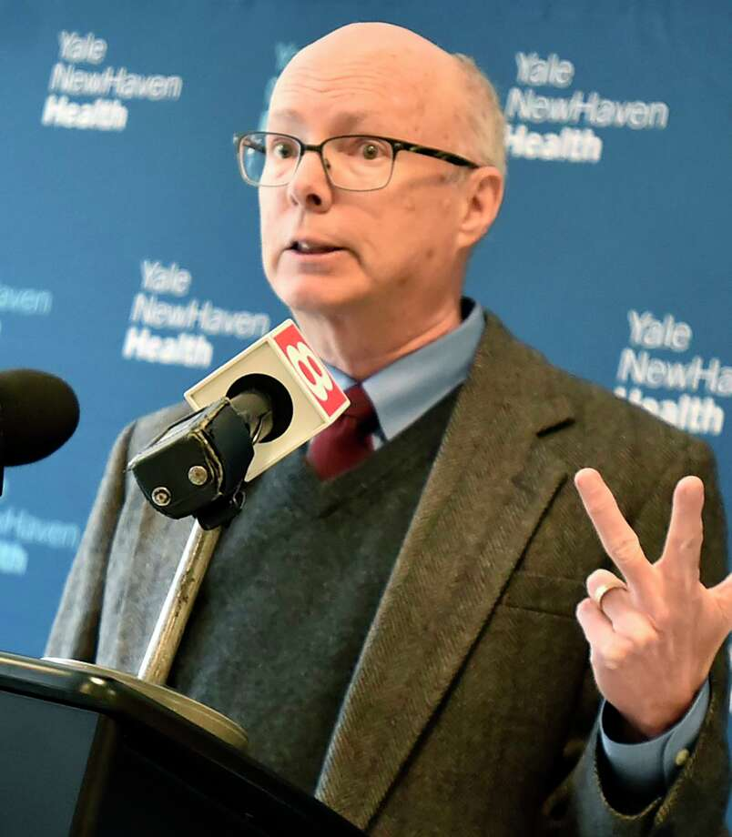 New Haven, Connecticut - January 31, 2020: Dr. Matthew Cartter, state epidemiologist, Department of Public Health speaks Friday during a press conference at Yale New Haven Hospital about the flu and coronavirus with U.S. Rep. Rosa DeLauro, D-3; Dr. Richard Martinello, Yale New Haven Health's medical director for infection prevention; Dr. Akiko Iwasaki, professor of immunobiology and molecular, cellular and developmental biology, Yale University; and Rich D'Aquila, President Yale New Haven Health and Yale New Haven Hospital Photo: Peter Hvizdak / Hearst Connecticut Media / New Haven Register