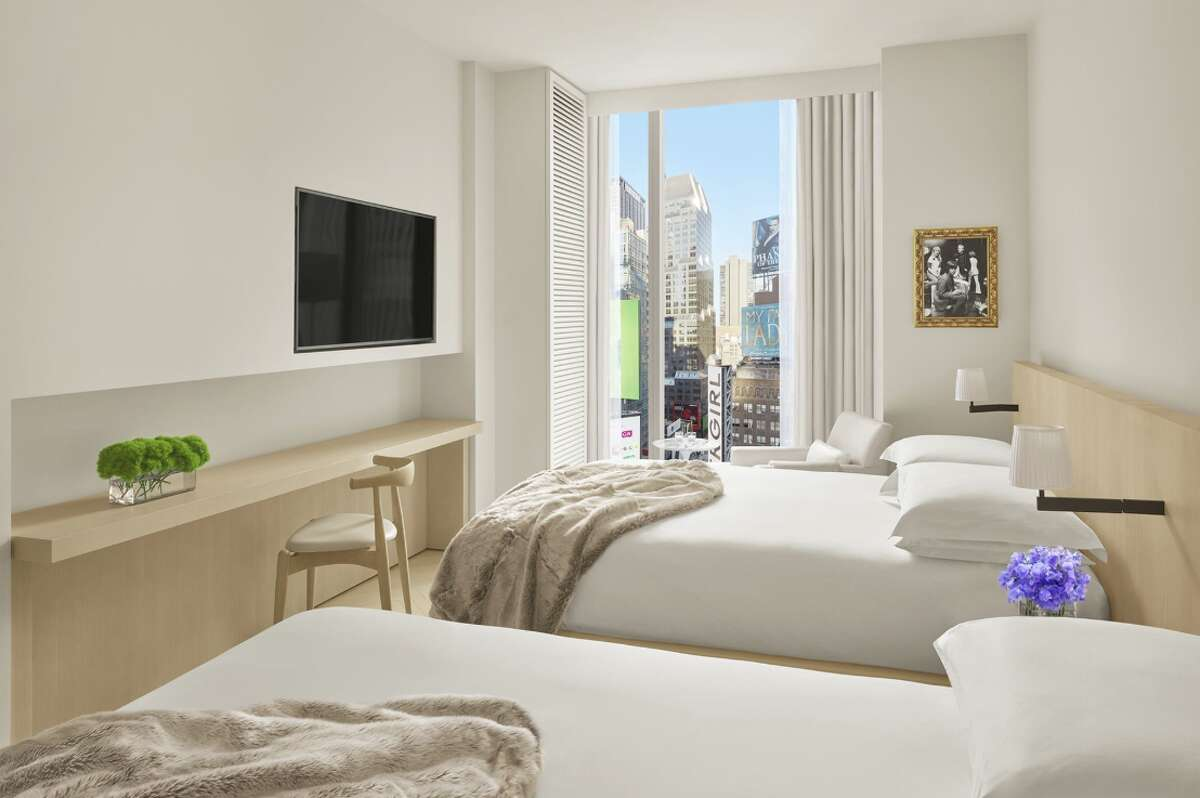 A typical double room at the Times Square Edition, designed by Ian Schrager.