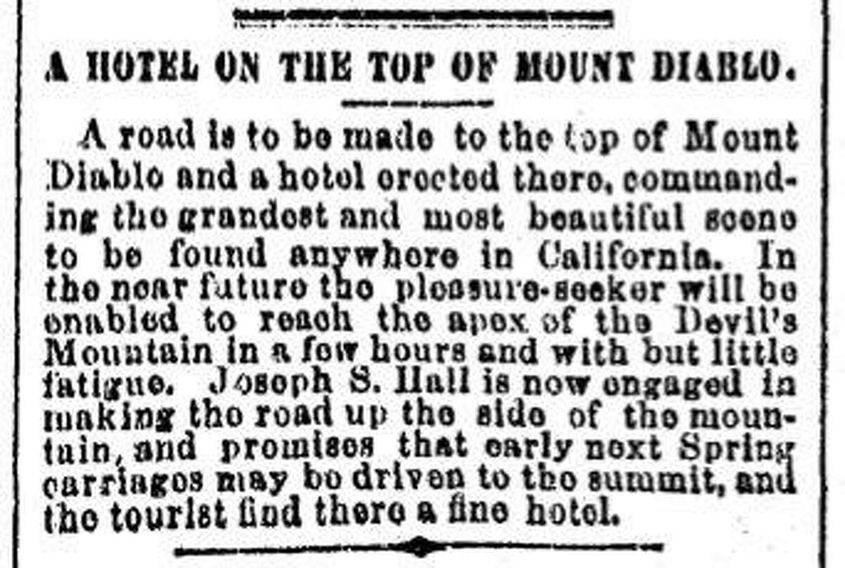 A Chronicle article on a road to the top of Mt Diablo allowing a hotel to be built there, September 15, 1873