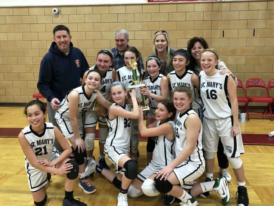 St. Mary's team members are Layal Alogna, Reese Caterbone, Katelyn Coleman, Kaitlyn Dzialo, Molly Gunning, Claire Hayes, Bianca Maciel, Avery Moulton, Hannah Newman and Grace Tonelli. The grade six jayvee GNHVAL champs are coached by Mike and Stacie Caterbone and Meg Hayes. Photo: Contributed Photo / St. Mary School / Milford Mirror