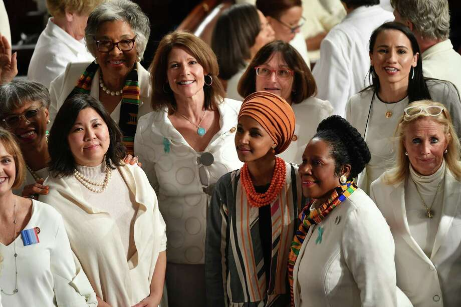U.S. Rep. Ilhan Omar, D-Minn., and Democratic members from the House of Representatives wearing white attend the State Of The Union address at the U.S. Capitol in Washington, DC, on Feb. 4. Photo: Mandel Ngan / AFP Via Getty Images / AFP or licensors