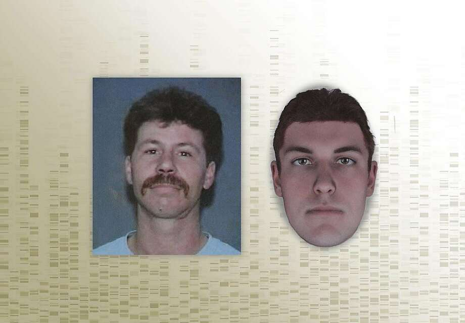 Composite of photos of Kelly Gene Perry — from his last California driver's license (left) and a DNA phenotype sketch done when his remains were discovered. Perry's body was recently identified through forensic genealogy after his dismembered body was found 22 years ago in Livermore months after he went missing. The body was too decomposed to be identified until new technology allowed a positive match, and police now are reexamining the cold case. Photo: Chronicle Photo Illustration