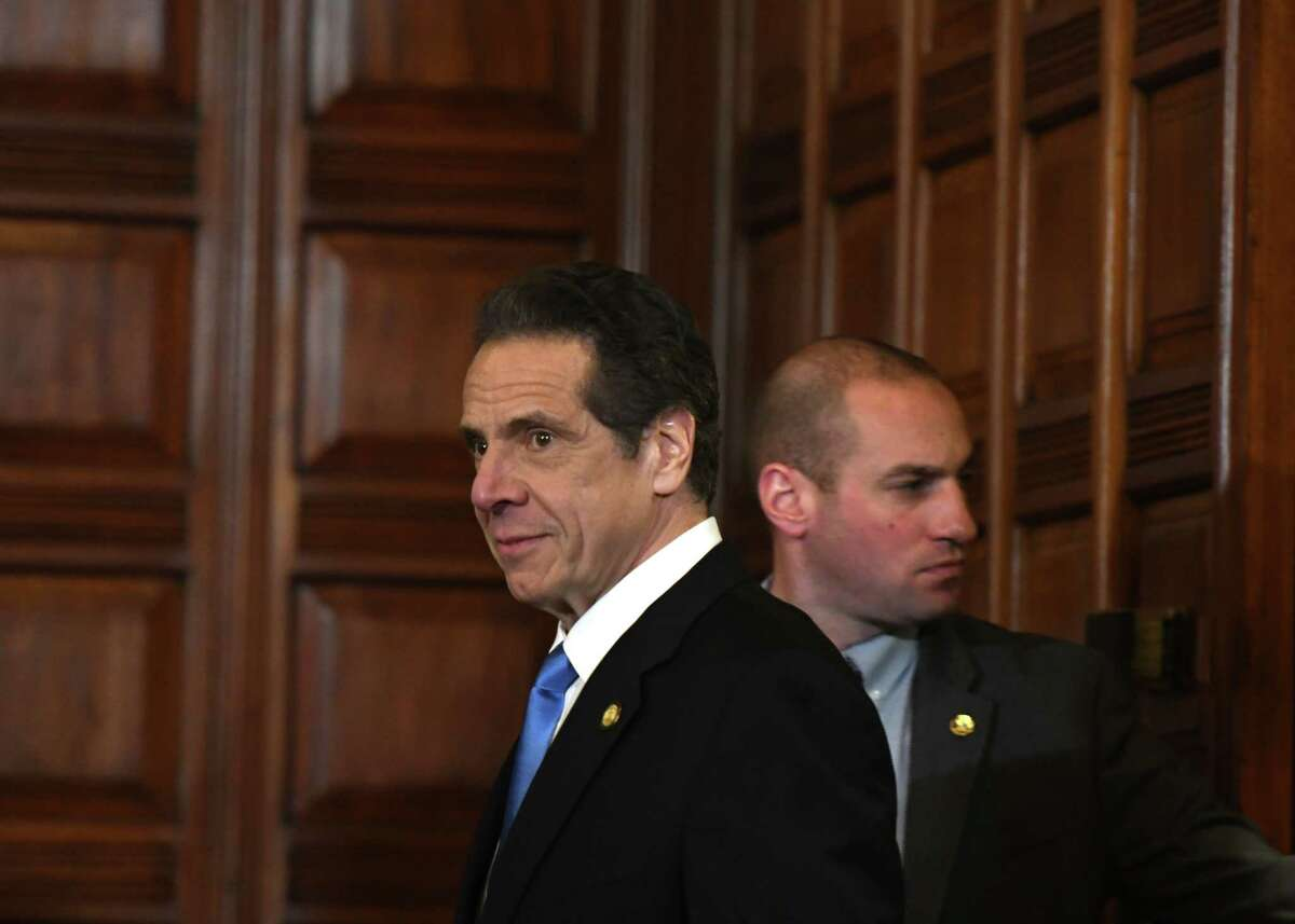 Gov. Andrew Cuomo enters the Red Room where he held a news briefing on state coronavirus cases on Thursday, March 5, 2020, in the Red Room at the Capitol in Albany, N.Y. (Will Waldron/Times Union)