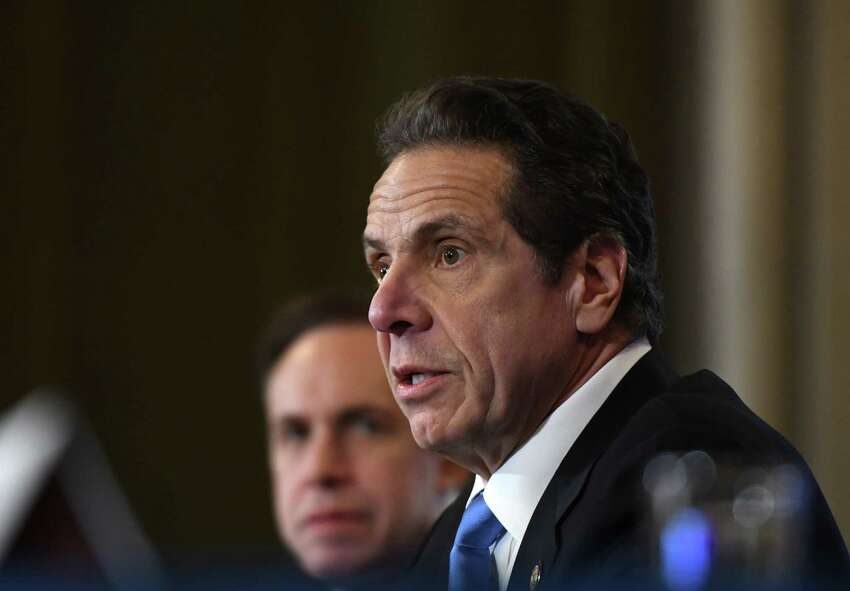 Gov. Andrew Cuomo holds a news briefing to discuss the latests state coronavirus cases, and efforts being taken to contain a potential outbreak on Thursday, March 5, 2020, in the Red Room at the Capitol in Albany, N.Y. (Will Waldron/Times Union)