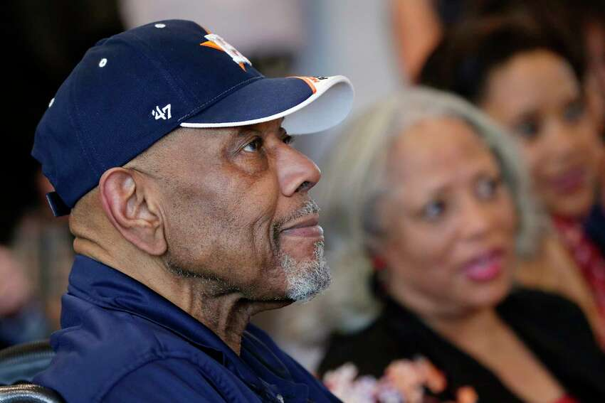 Bab Watson, left, sits with his wife Carol as they listen to presentations during dedication ceremonies of the Bob Watson Education Center at the Astros Youth Academy Thursday, Mar. 5, 2020 in Houston, TX.
