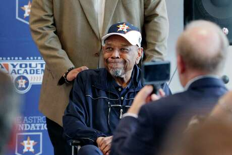 Bob Watson reacts as he is recognized during dedication ceremonies of the Bob Watson Education Center at the Astros Youth Academy Thursday, Mar. 5, 2020 in Houston, TX.