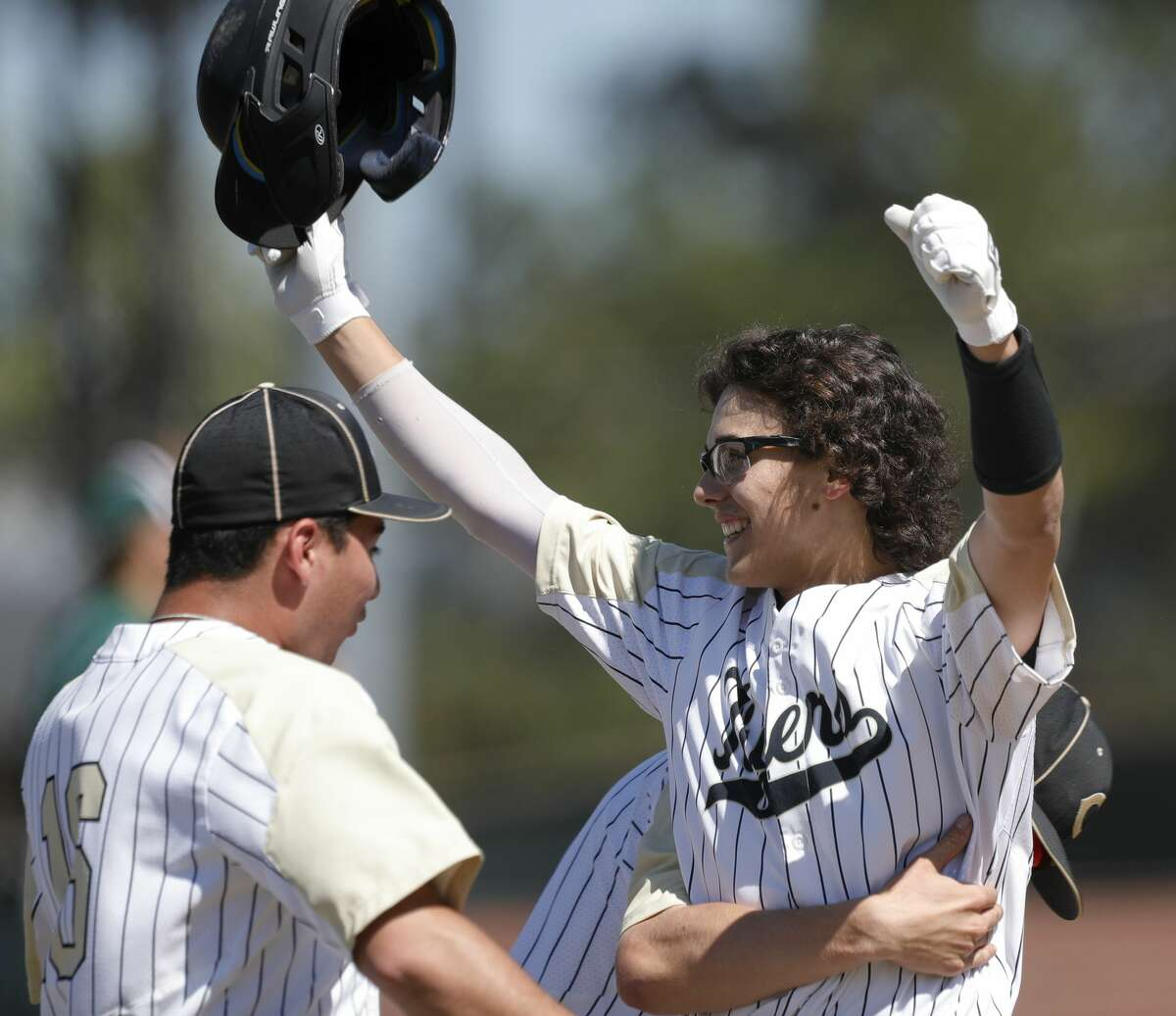 Conroe's Frankie Olivarez reacts after his game-winning, two-run single in the fifth inning of a high school baseball game during the Ferrell Classic at Conroe High School, Thursday, March 5, 2020, in Conroe. Conroe defeated Bryan Rudder 3-2 in five innings due to time limits.