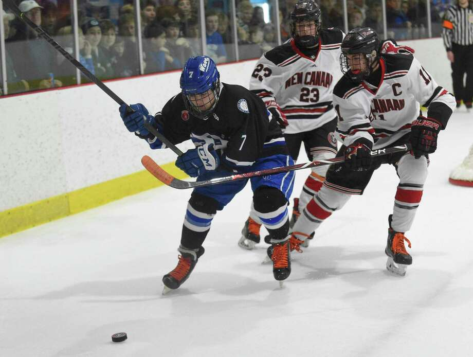 Darien defeated New Canaan 10-2 in an FCIAC boys hockey game at the Darien Ice House on Feb. 8, 2020 in Darien, Connecticut. Photo: Matthew Brown / Hearst Connecticut Media / Stamford Advocate
