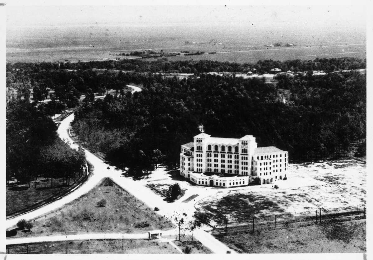 1925: In 1925, Hermann Hospital, now the Cullen Pavilion, stood alone where the Texas Medical Center would rise decades later. The hospital adjoins Hermann Park, which is on property donated to the city by George H. Hermann in 1914.