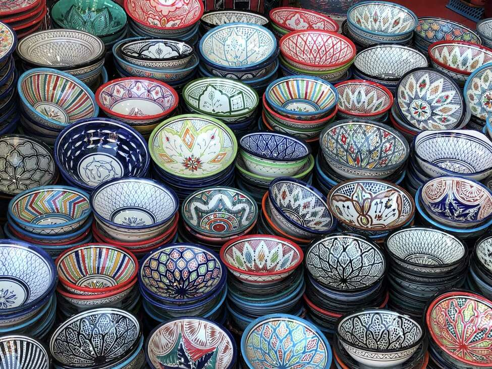 Colorful ceramic bowls on display at a shop in Marrakesh. (Photo by Azra Haqqie)