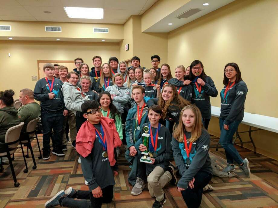 The Manistee Catholic Central Science Olympiad Middle School team took second place at the Science Olympiad Regional. Coach Michelle McComb's team will now be moving on to the state finals on April 25 at Michigan State University. (Courtesy photo)
