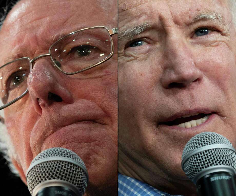 (COMBO) This combination of file pictures created on March 4, 2020 shows Democratic presidential candidate Bernie Sanders(L) during a rally in Myrtle Beach, South Carolina, on February 26, 2020, and Democratic presidential hopeful former Vice President Joe Biden  during a rally in Conway, South Carolina, on February 27, 2020. - Bernie Sanders was leading comfortably in California March 4, 2020 after the Democratic Super Tuesday primaries, as US media cautiously refrained from declaring him winner in the state with the largest delegate count. With approximately 80 percent of precincts reporting, the Vermont senator was ahead with 33 percent of votes against 24 percent for former vice president Joe Biden, who represents the more moderate wing of the party. (Photos by JIM WATSON / AFP) (Photo by JIM WATSON/AFP via Getty Images) Photo: JIM WATSON, Contributor / AFP Via Getty Images / AFP