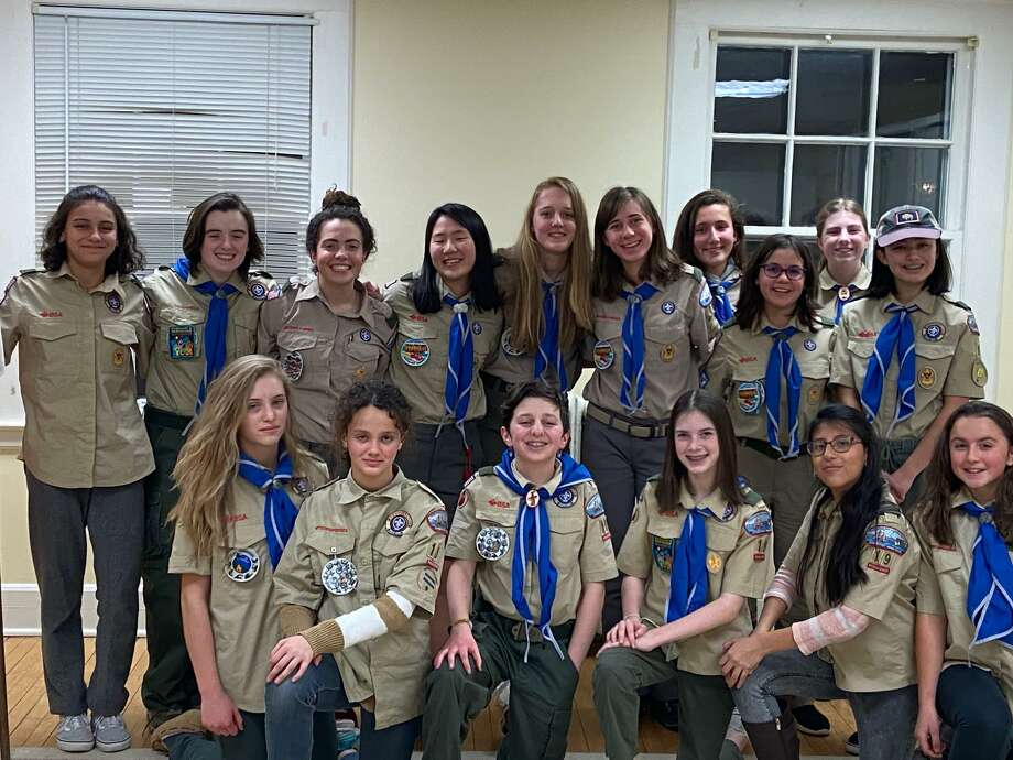 Troop 19 in Ridgefield includes, from left, front row, Gabriela Rogers, Eva Taleb, Eela Dryfoos, Lexie Bitner, Zoe Munoz and Catherine Thompson; back row, Ines Taleb, Maddy Gonley, Sophie Desmarais, Caroline Vilinskis, Lisa van Gompel, Della Fincham, Jax Mantione, Evia Rodriguez, Maya Pereyra and Jordan Mooney Member not shown are Katie Bitner, Emily Fox, Kristy Breslin and Jules Buckley. Photo: Troop 19, Ridgefield, CT / Contributed Photo