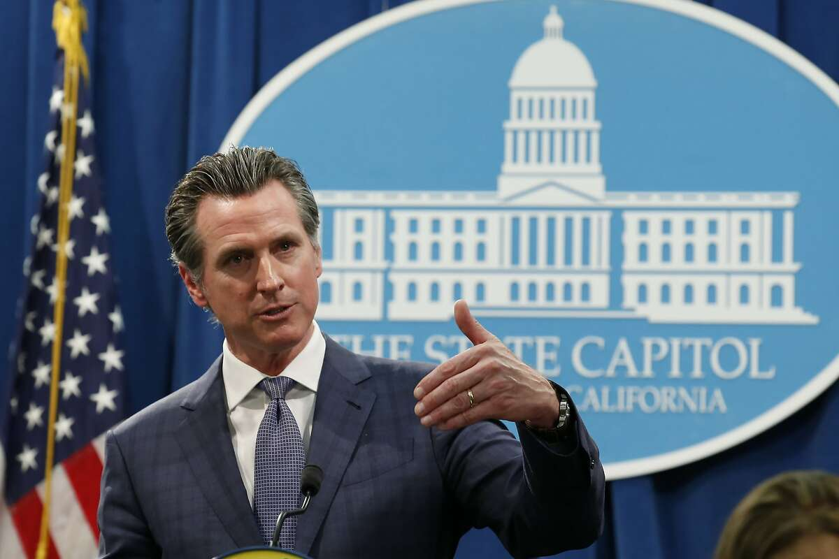 In the aftermath of the first California resident to die from the coronavirus,California Gov. Gavin Newsom declared a statewide emergency to deal with the virus, at a Capitol news conference in Sacramento, Calif., Wednesday, March 4, 2020. The elderly patient died in Placer County, northeast of Sacramento, after apparently contracting the illness on a cruise. (AP Photo/Rich Pedroncelli)