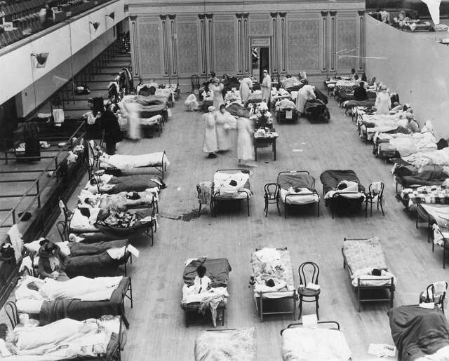 1918: The Oakland Civic Auditorium was used as a treatment center for the Spanish influenza in 1918 and 1919.