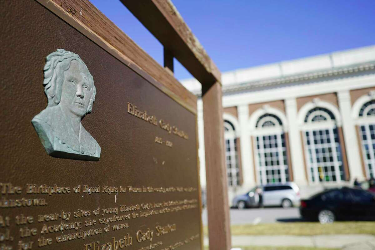 A view of a plaque with information about Elizabeth Cady Stanton, seen here in Sir William Johnson Park on Thursday, March 5, 2020, in Johnstown, N.Y. (Paul Buckowski/Times Union)