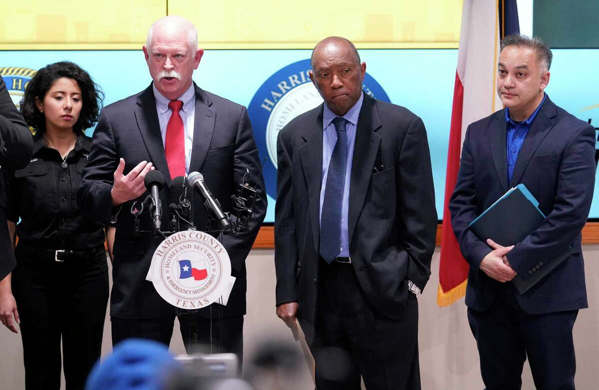 Harris County Judge Lina Hidalgo, left, Dr. David Persse, Houston Health Department, Houston Mayor Sylvester Turner, and Dr. Umair Shah, executive director of Harris County Public Health, right, speak about the first two cases of coronavirus in Harris County during media conference at Houston Transtar Thursday, March 5, 2020 in Houston. One man and one woman in the unincorporated area of northwest Harris County tested positive for COVID-19, according to county officials. Both patients, and the man in Fort Bend county that tested positive for COVID-19, had traveled together to Egypt.