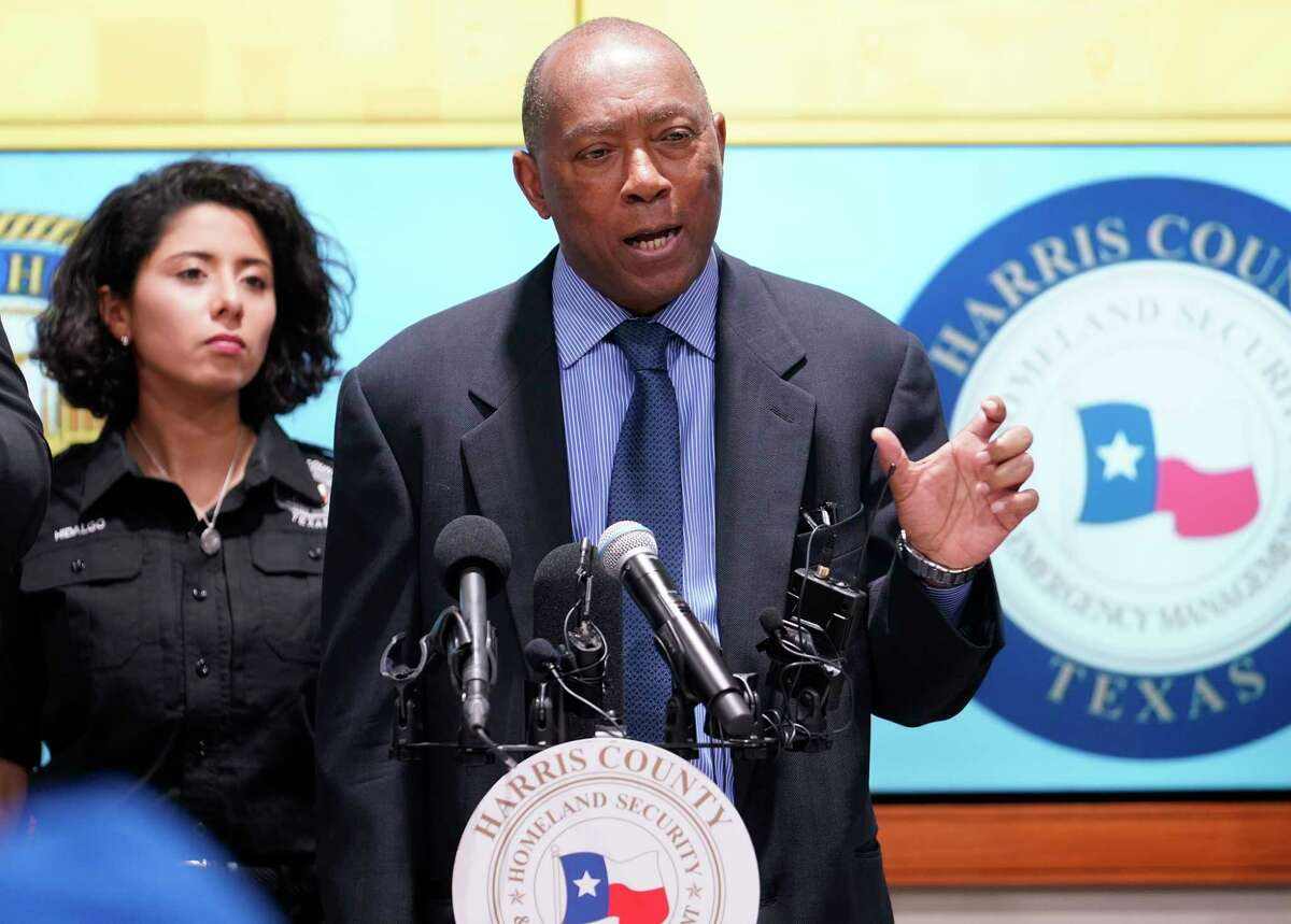Harris County Judge Lina Hidalgo, left, listens as Houston Mayor Sylvester Turner, right, speaks about the first two cases of coronavirus in Harris County during media conference at Houston Transtar Thursday, March 5, 2020 in Houston. One man and one woman in the unincorporated area of northwest Harris County tested positive for COVID-19, according to county officials. Both patients, and the man in Fort Bend county that tested positive for COVID-19, had traveled together to Egypt.