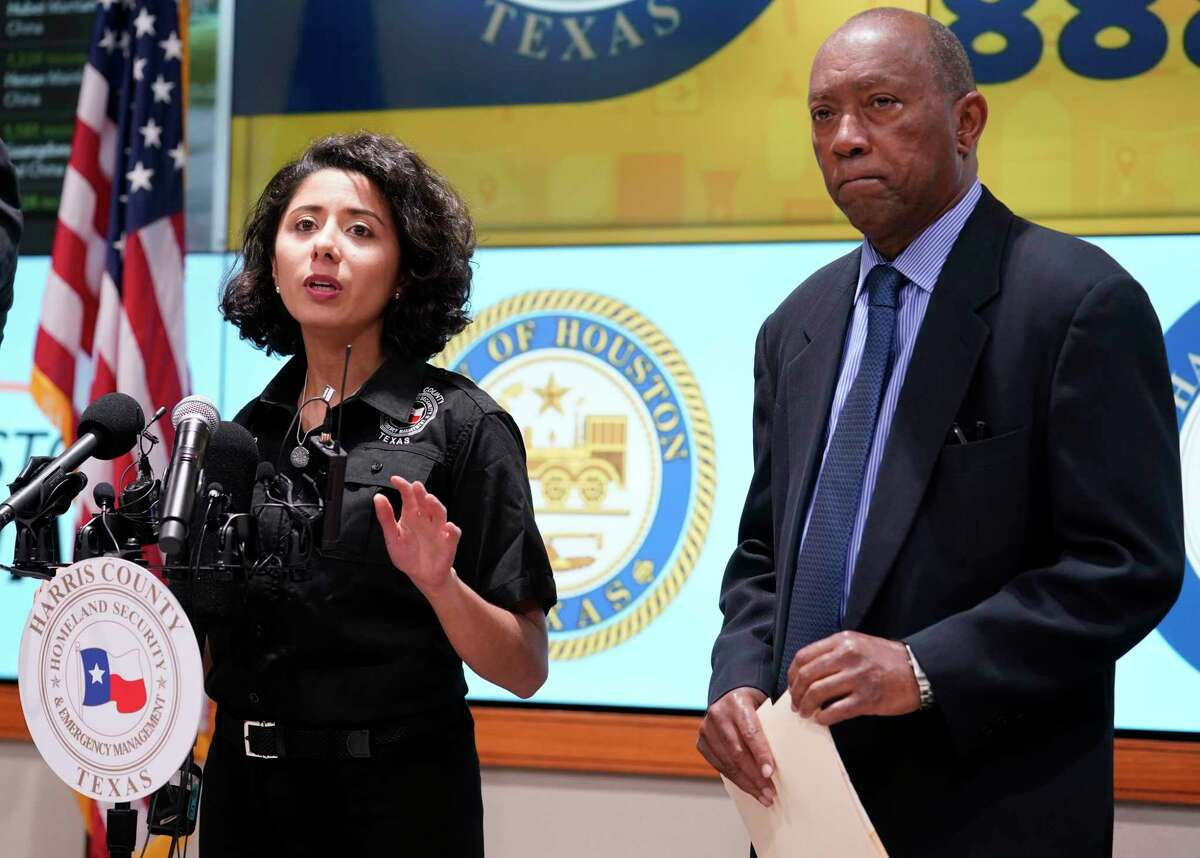 Harris County Judge Lina Hidalgo, left, and Houston Mayor Sylvester Turner, right, speak about the first two cases of coronavirus in Harris County during media conference at Houston Transtar Thursday, March 5, 2020 in Houston. One man and one woman in the unincorporated area of northwest Harris County tested positive for COVID-19, according to county officials. Both patients, and the man in Fort Bend county that tested positive for COVID-19, had traveled together to Egypt.