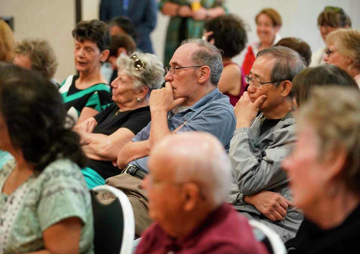 A full meeting room of seniors listen as Dr. Joe A. Anzaldua, a family physician in Sugar Land, talks about how they can better prepare themselves against coronavirus Thursday, March 5, 2020, at T.E. Harman Center in Sugar Land.