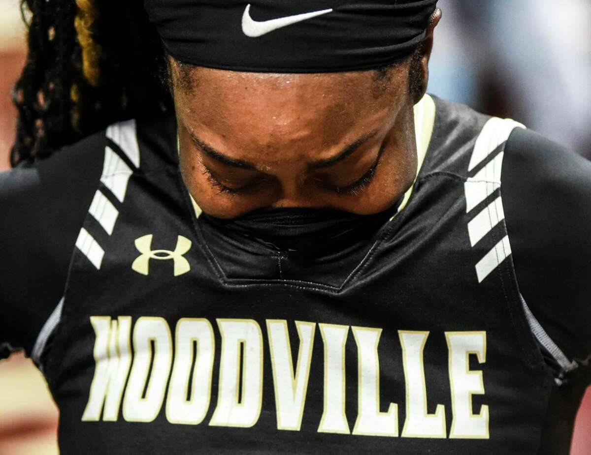 Woodville?•s Shayla Williams reacts after Woodville lost to Mount Pleasant Chapel Hill 46-55 in the 3A state final tournament game in San Antonio at Alamodome on Saturday. Photo taken on Saturday, 03/02/19. Ryan Welch/The Enterprise
