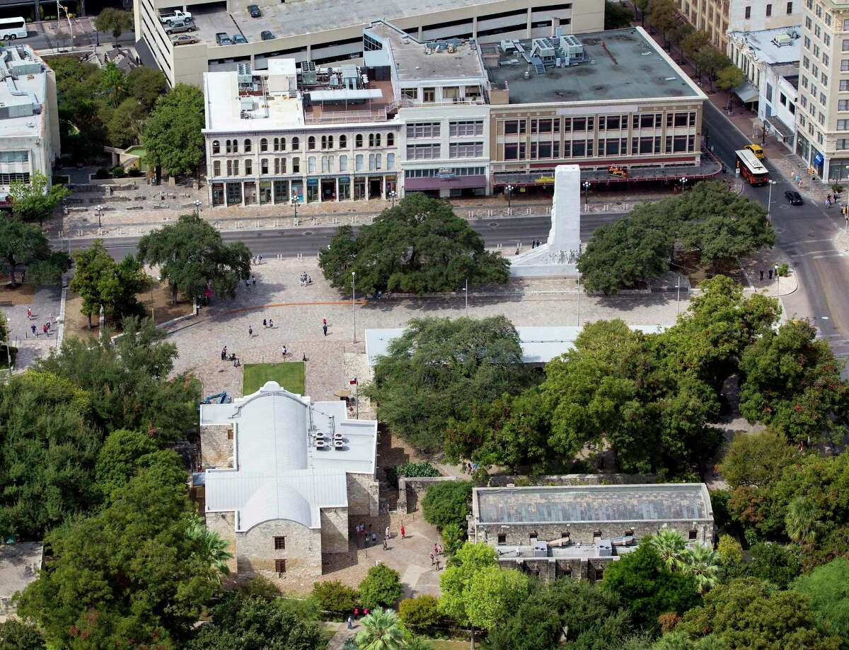 This is the view from above Alamo Plaza. The Alamo chapel is at the lower left and the Cenotaph is at the upper right.