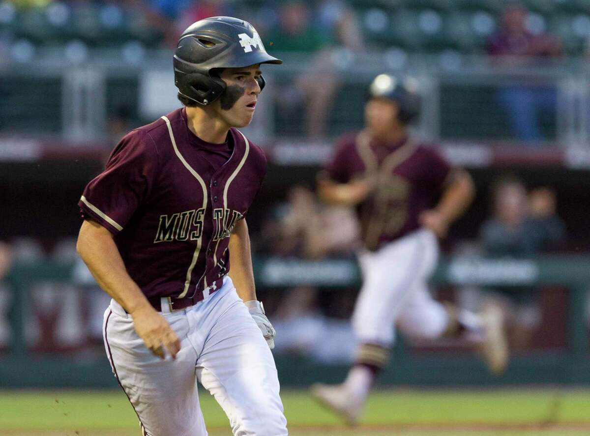 Mason Swidersky #1 of Magnolia West hits an RBI single to score WillieIbarra and break a 1-1 tie in the fourth inning of Game 1 during a Region III-5A final series at Blue Bell Park on the campus of Texas A&M University, Thursday, May 30, 2019, in College Station.