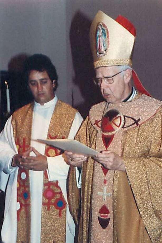 The Rev. Jose Antonio Pinal, left, with Bishop Francis Quinn of Sacramento, who aided Pinal in continuing his ministry in Mexico after Pinal was accused of sexual abuse. Photo: (Courtesy/Law Offices Of Joseph C. George