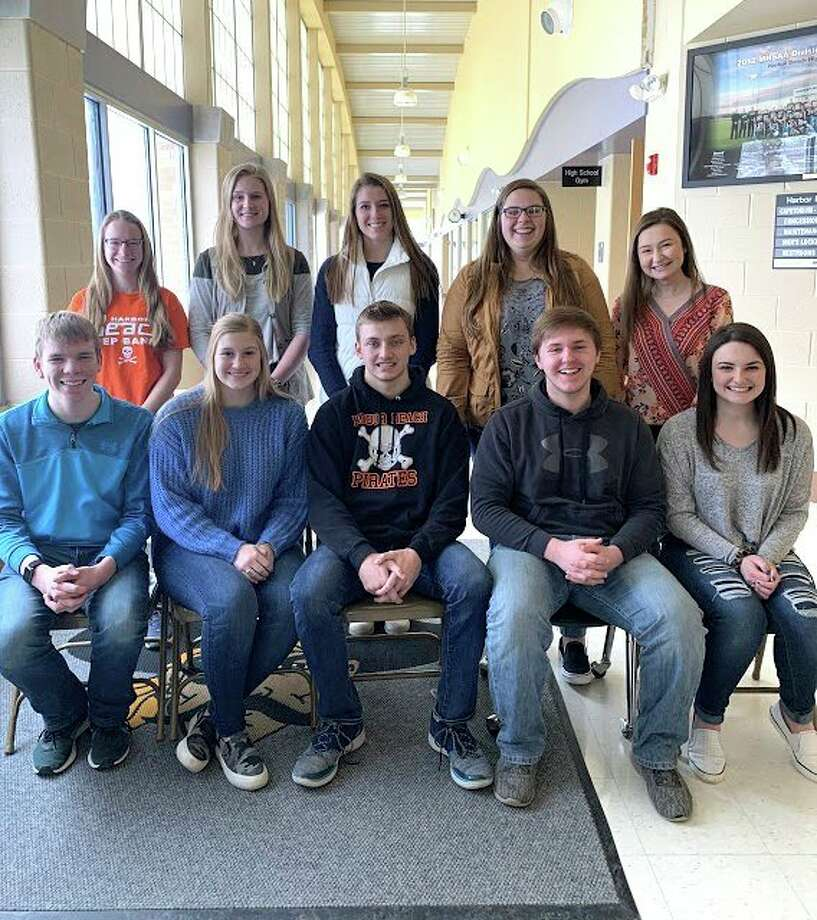 Harbor Beach School announces their top ten students from the Class of 2020. Pictured in the back row are valedictorian Hannah Emerick, salutatorian Jenna Guza, Makayla Roberts, Brianna Booms, Morgan Sielaff; (front row) Tyler Holdwick, Annika Kirsch, Nathan Siemen, Jeffrey Oakley and Hailey Clink. (Submitted Photo)