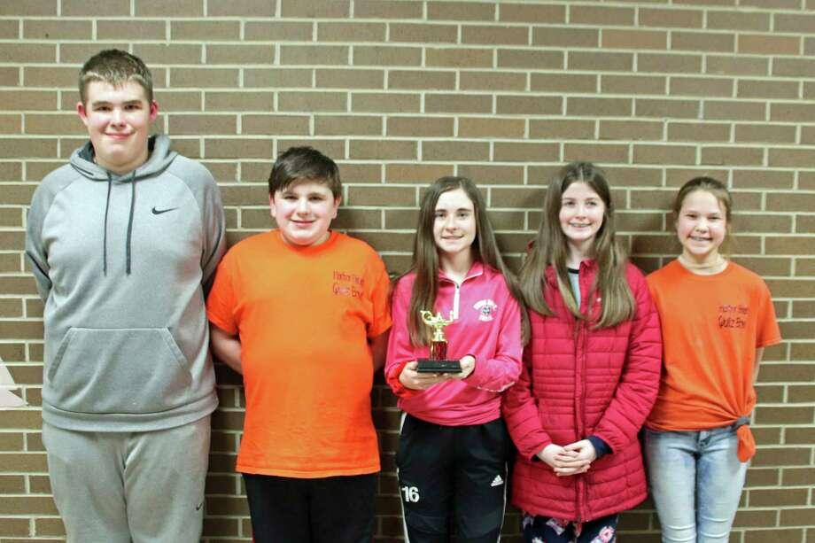 Second place went to Harbor Beach 2 (from left) Kaden Lawhorn, James Gray, Sydney Pawlowski, Kiley London, and Aubree Klaski. (Submitted Photo)