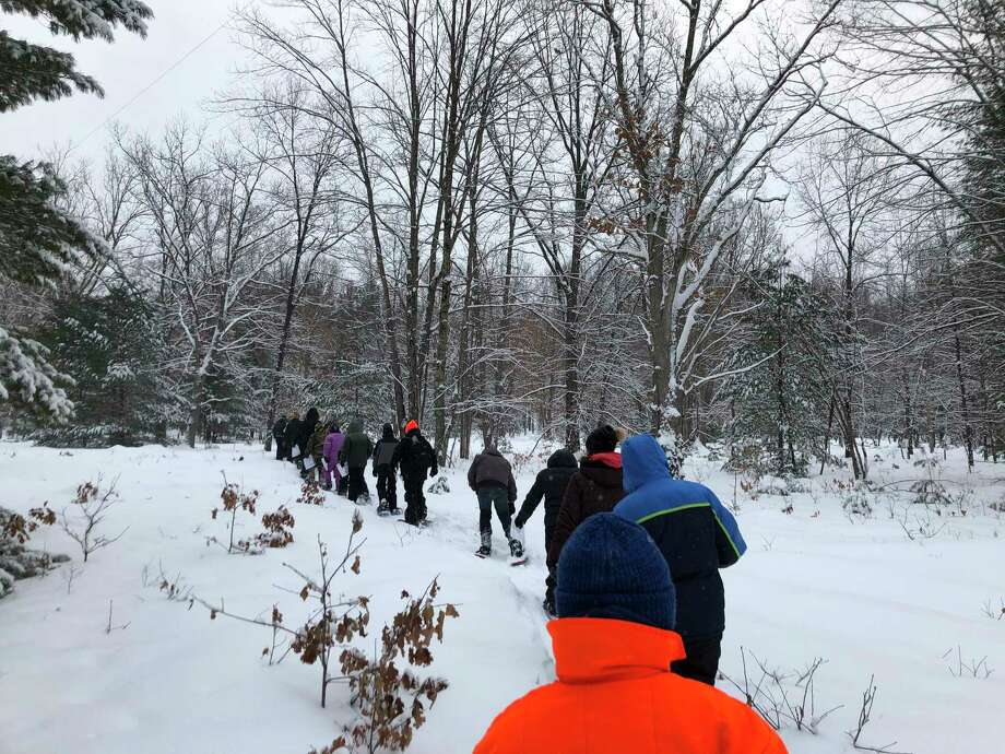 The sixth grade class at Manistee Middle High School recently participated in the 2020 Winter White Out at the Big-M Recreation Area. This program was supported in part by a grant from the Minger Family Endowment Fund of the Manistee County Community Foundation. (Courtesy photo)