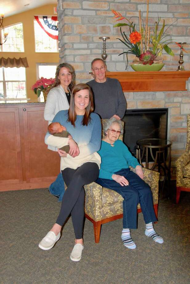 Clockwise, from the chair: Frances Oliver, 91, Chelsea Bruns, one-week old Hudson Bruns, Jennifer Suarez, Robert Churchfield. Frances Oliver is a member of the First Families of Midland County.(Photo provided)