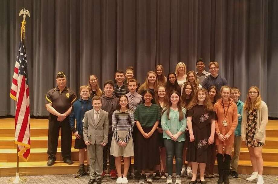 Fourteen students competed this week in the American Legion Oratorical Contest held at Shelton Intermediate School. Advanced Placement Government and Politics students, juniors and seniors from Shelton High School, served as judges for the competition. Photo: Contributed Photo / / Connecticut Post
