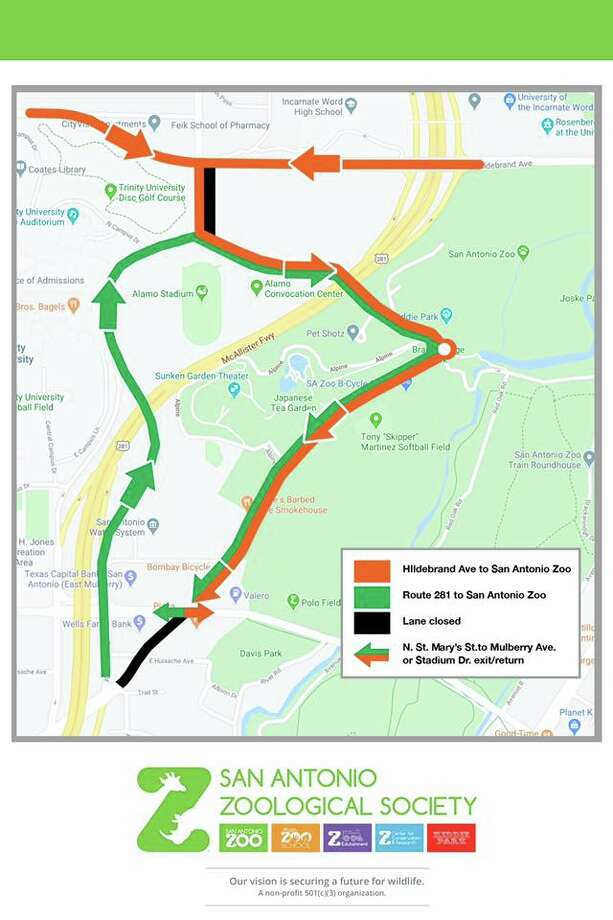 In an effort to ease the traffic problems around Brackenridge Park for spring break, the San Antonio Zoo and the city have created a new traffic plan for the area. Photo: San Antonio Zoo