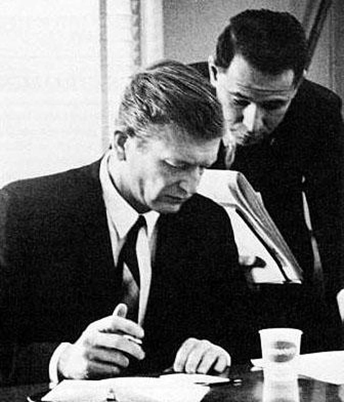 """Woody Klein, right, with John V. Lindsay, New York City's mayor from 1966-73, served as Lindsay's first press secretary. Klein, a longtime Westport resident and former Westport News editor, is the author of the book, """"Lindsay's Promise."""""""