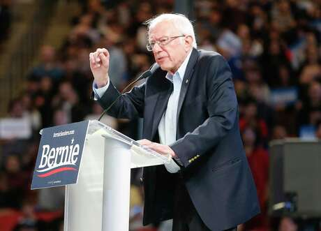Sen. Bernie Sanders speaks during a rally at the University of Houston's Fertitta Center last month.