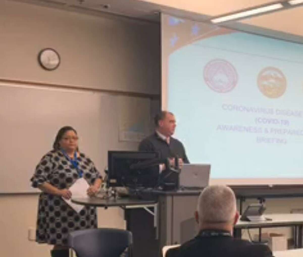 Scott Appleby, Bridgeport director of emergency management and communications, led a briefing on the city's response to novel Coronavirus on Friday, March 6, 2020.
