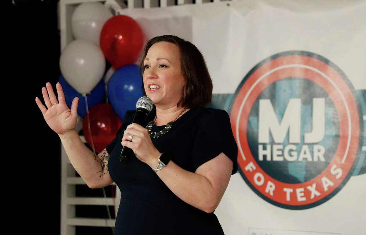 Democratic U.S. Senate candidate MJ Hegar speaks to supporters during her election night party in Austin, Texas, Tuesday, March 3, 2020. (AP Photo/Eric Gay)