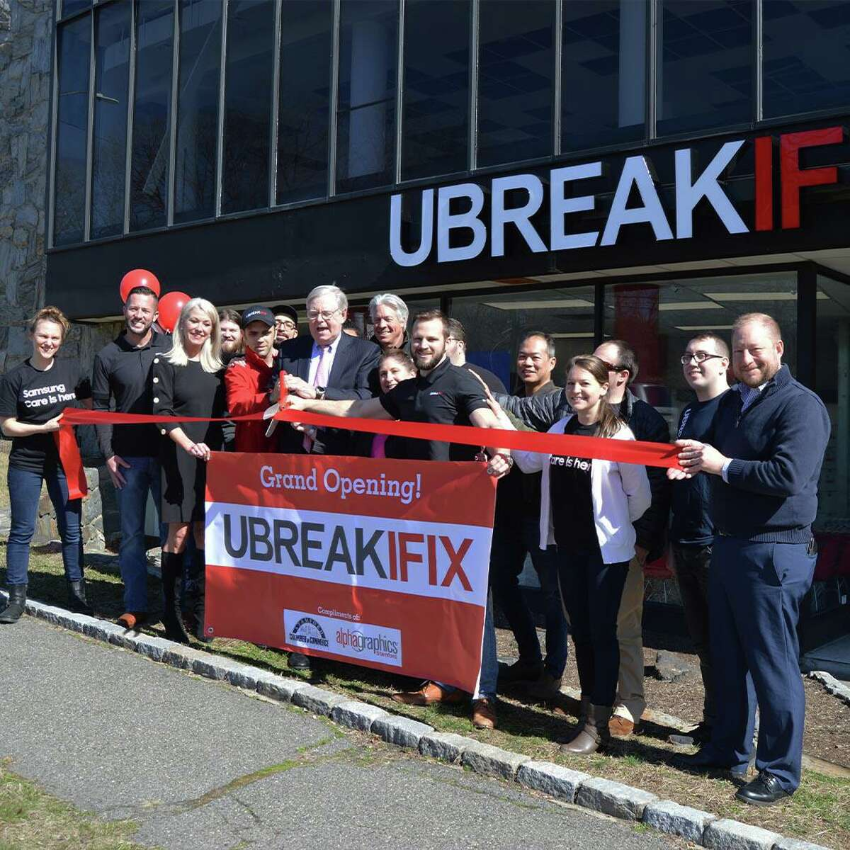 UbreakiFix employees and city officials attended a grand opening for the new store at 123 High Ridge Road in Stamford, Conn., on Thursday, March 5, 2020.