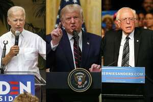 Democratic presidential candidate Joe Biden; President Donald Trump who is seeking reelection; and Democratic presidential candidates Bernie Sanders.