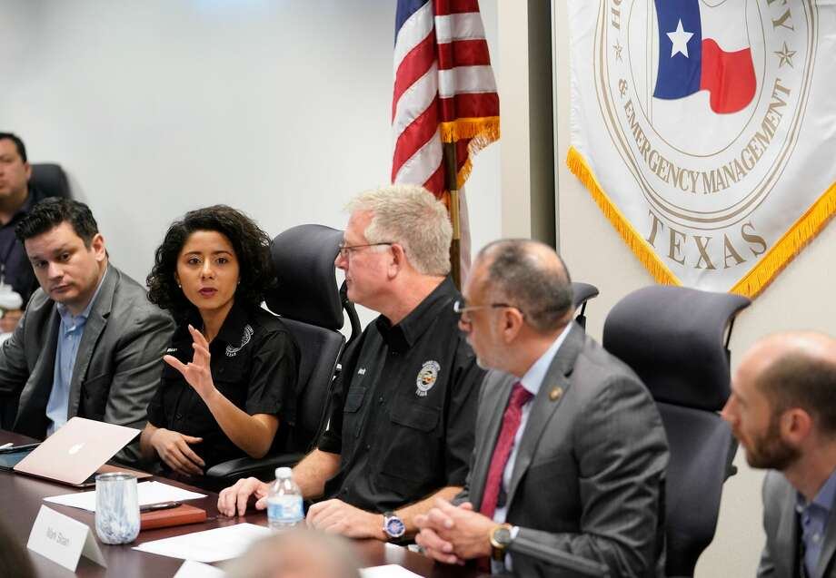 Harris County Judge Lina Hidalgo, second from left, directed the county's response to COVID-19 and met with other local leaders on March 5 as the first local cases were confirmed confirmed. Photo: Melissa Phillip, Staff Photographer / © 2020 Houston Chronicle