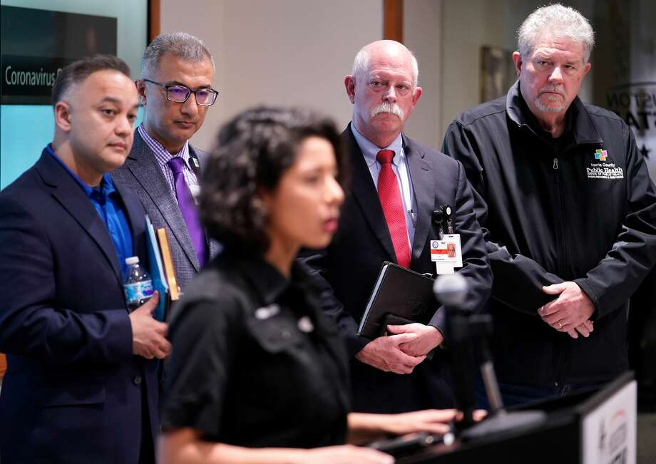 Dr. Esmaeil Porsa, Harris Health System president and CEO, second from left, privately urged Harris County Judge Lina Hidalgo to shutdown the rodeo to help contain the virus. Photo: Melissa Phillip, Staff Photographer / © 2020 Houston Chronicle