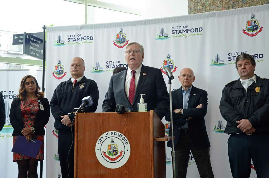 Stamford Mayor David Martin speaks alongside city, state and federal officials Friday morning, at the Stamford Government Center, amid concerns about the new coronavirus. Photo: Tatiana Flowers / Hearst Connecticut Media / Stamford Advocate