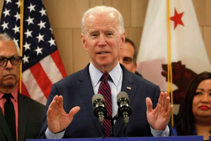 Former Vice President Joe Biden addresses the media a day after his big Super Tuesday win, on Wednesday, March 4, 2020 at the W Hotel in Westwood in Los Angeles, Calif. The Democratic presidential hopeful spoke of how he would continue his campaign, but said he wasn't taking any questions. (Genaro Molina/Los Angeles Times/TNS)