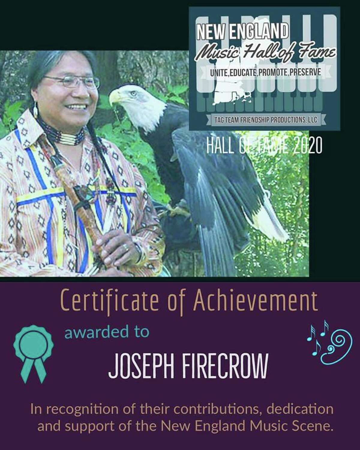 The late musician Joseph Fire Crow of Winstedwill be one of ten inducted into the inaugural class of the New England Music Hall of Fame www.newenglandmusichof.com accepting on his behalf will be his widow and Associate board member of the Hall of Fame Joanne Moore.