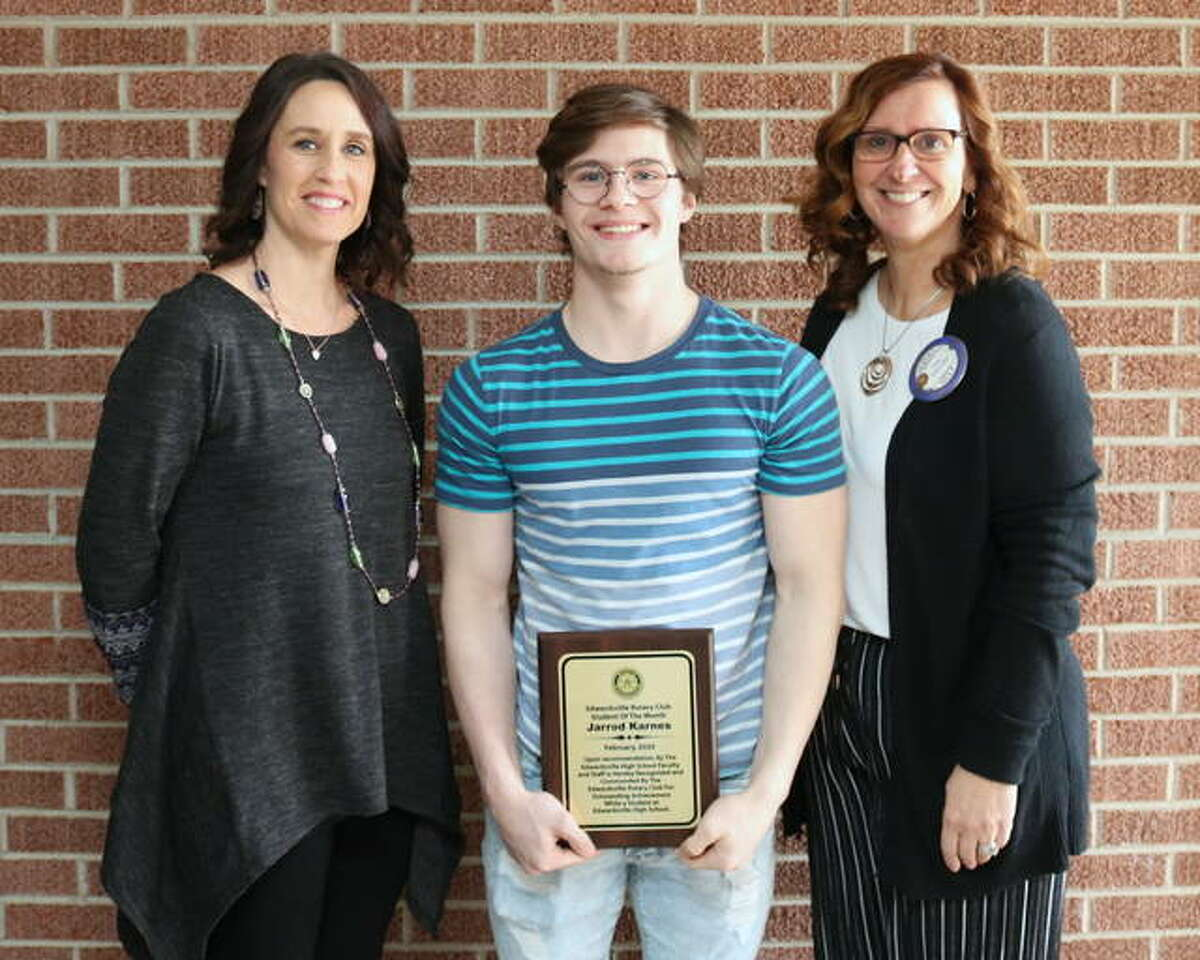 Left to right, Erin Karnes (Mom), Maxon Karnes and Ann Tosovsky (Rotarian)