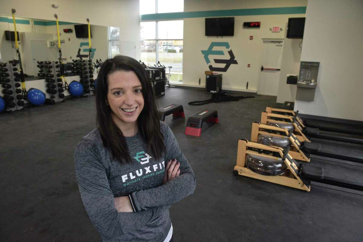 Alyssa Buckheit owner of FluxFit, a new fitness gym opening Saturday, March 7, 2020, in Danbury, Conn. Friday, March 6, 2020.