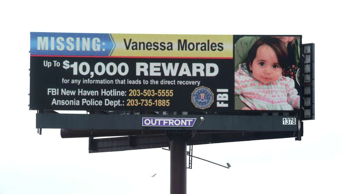 An electronic billboard advertises a reward of up to $10,000 for information leading to the direct recovery of Vanessa Morales to travelers on southbound I-91 in New Haven on March 3, 2020.