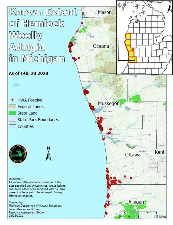 This map shows the known infestations of hemlock woolly adelgid in Michigan. (Courtesy map/Michigan DNR)